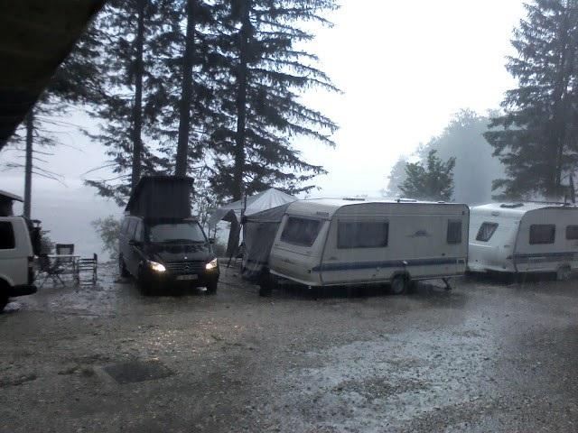 Campsite at Lake Bohinj in the rain