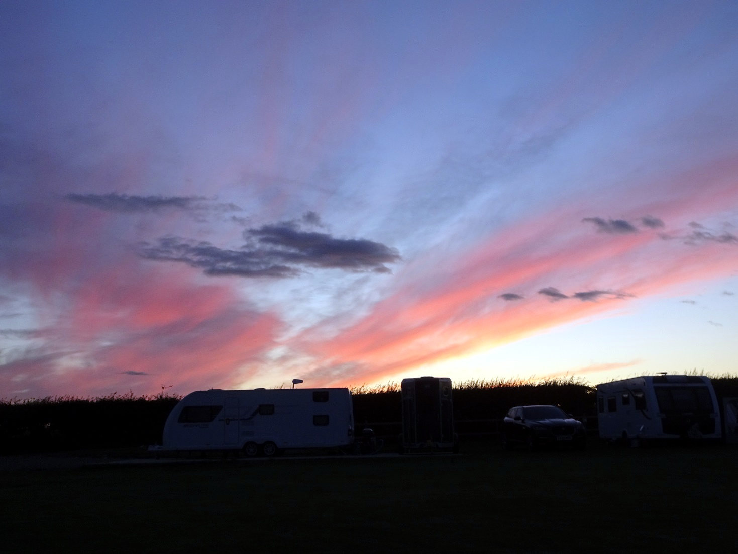 sunset at Runswick Bay Campsite
