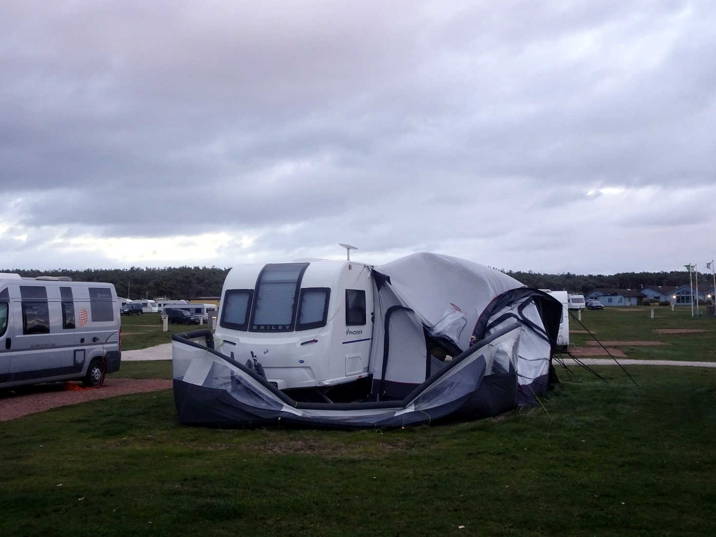 wind damage at the campsite