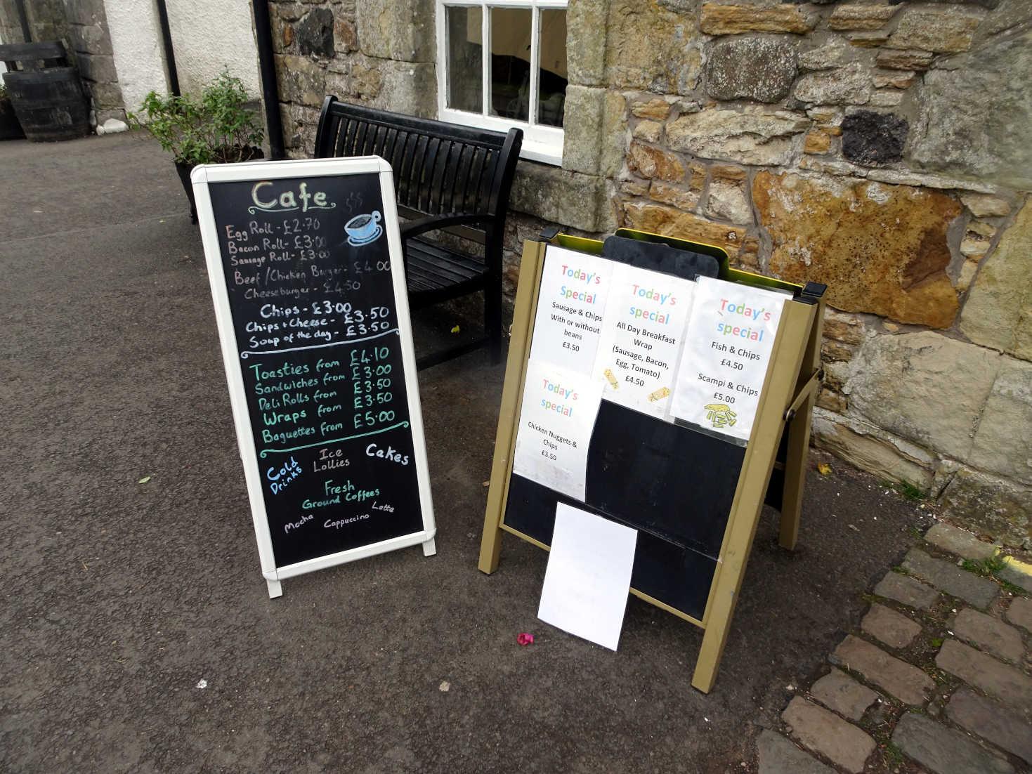 dinner choices at Kelburn Castle