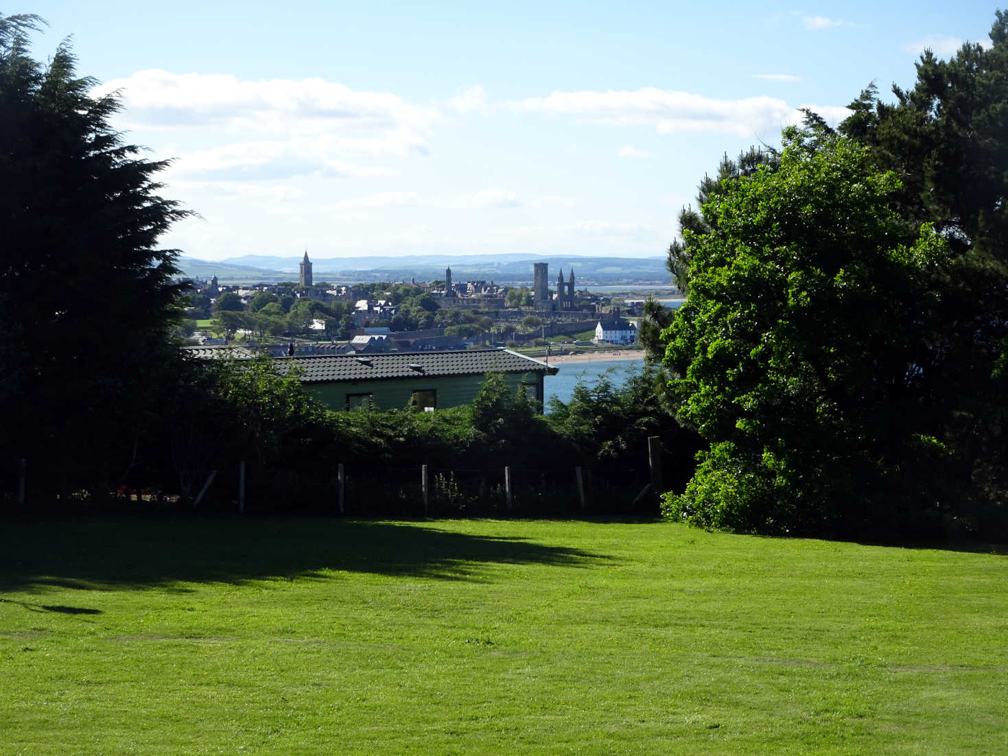 view to St Andrews from camp