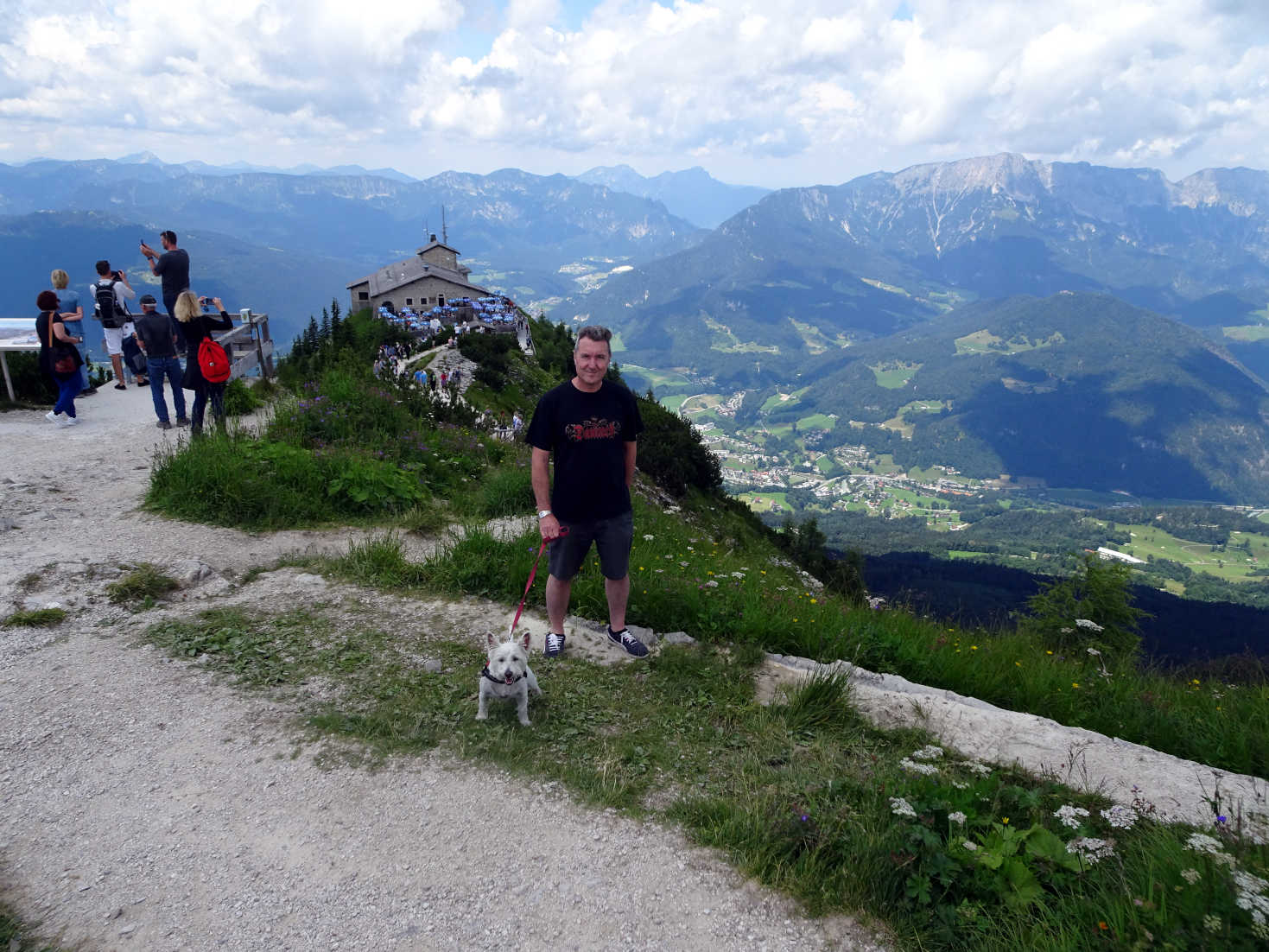 poppy the westie and dad at the eagles nest