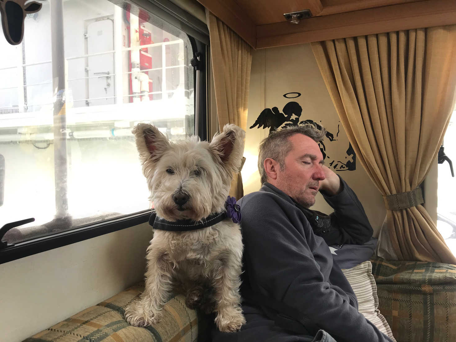 poppy and dad on the ferry